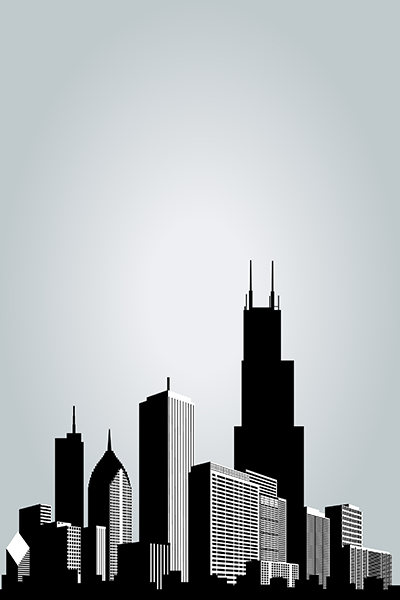 Black and white drawing of Chicago skyline