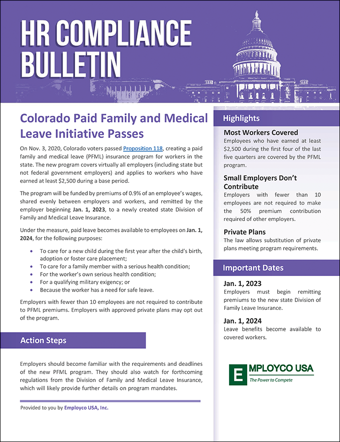 HR Compliance Bulletin: Colorado Paid Family and Medical Leave Initiative Passes