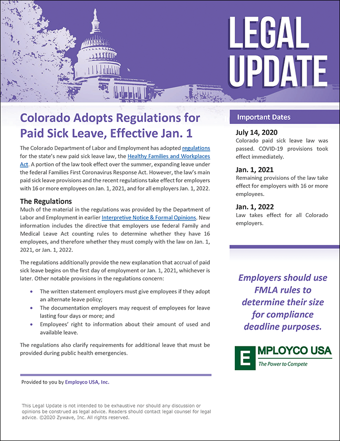 Legal Update: Colorado Adopts Regulations for Paid Sick Leave, Effective Jan. 1