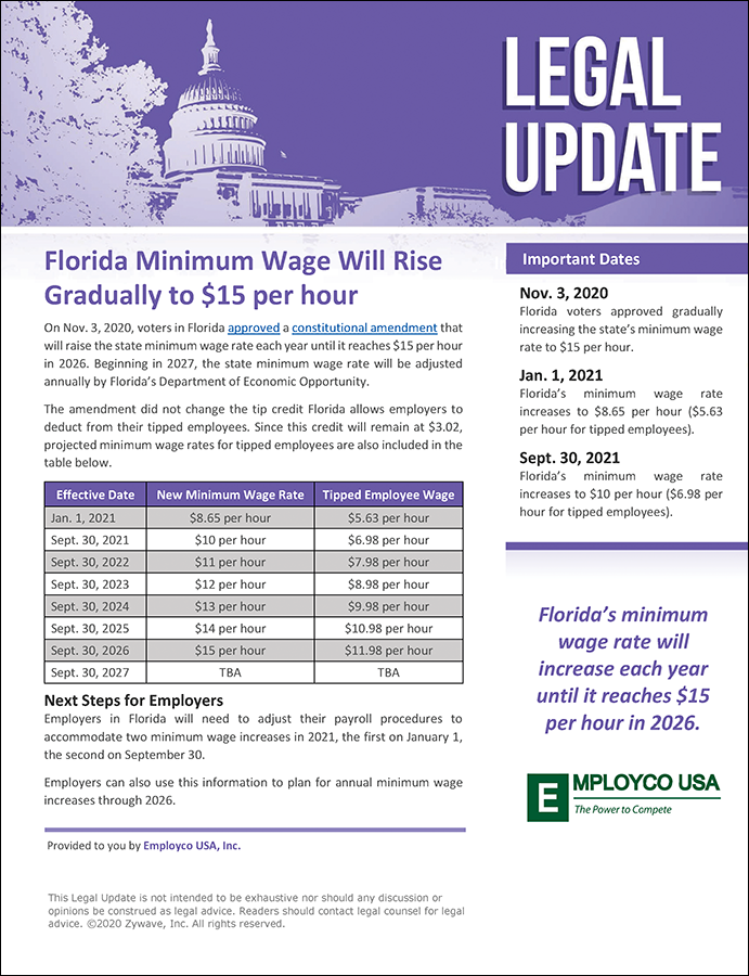 Legal Update: Florida Minimum Wage Will Rise Gradually to $15 per hour