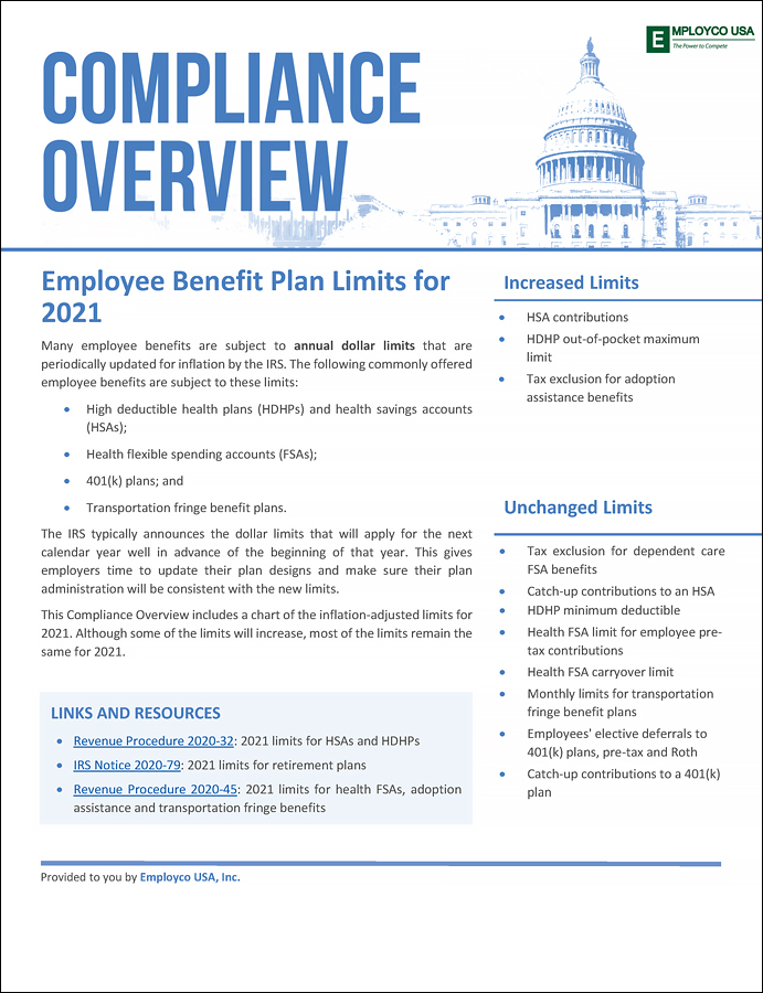 Compliance Overview: Employee Benefit Plan Limits for 2021