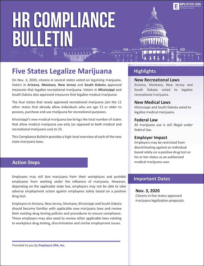 HR Compliance Bulletin: Five States Legalize Marijuana