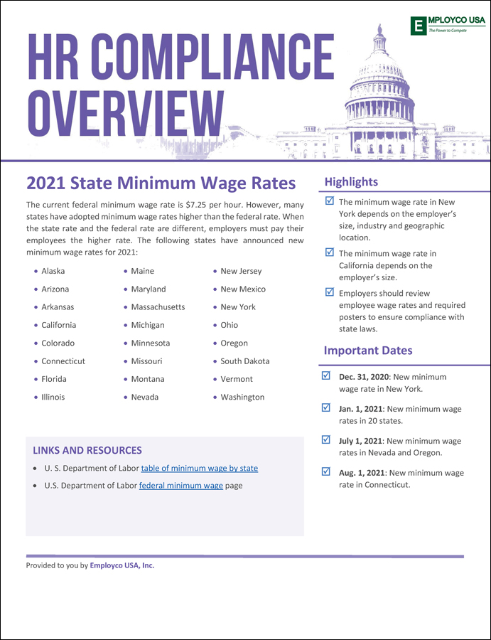 HR Compliance Overview: 2021 State Minimum Wage Rates